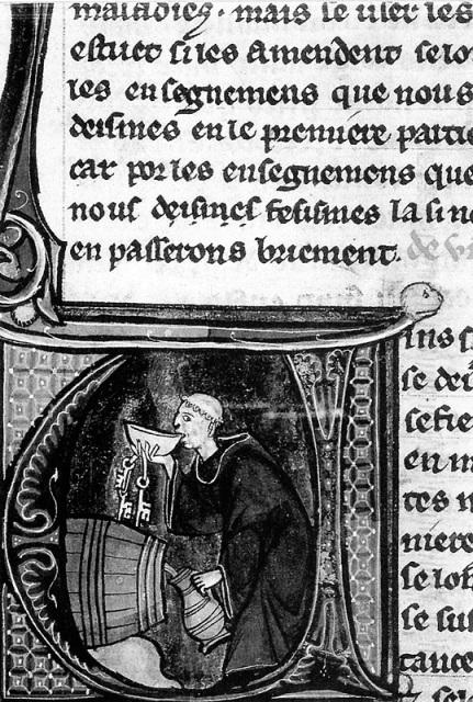 Монах снимает пробу в пивном погребе. Иллюстрация к рукописи XIII века.